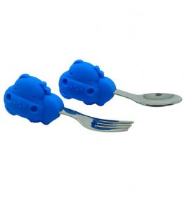 Marcus Marcus Lucas Blue Hippo Palm Grasp Spoon and Fork Set much more enjoyable design and color for junior.