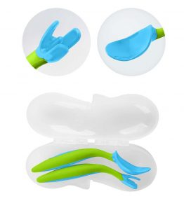 B.Box Ocean Breeze Toddler Cutlery Set with a large spoon head doubles as a shovel.