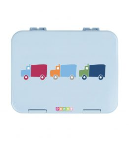 Penny Scallan Big City Large Bento Box blueish colour wiht 3 cute cars in the middle.