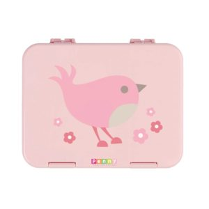 Penny Scallan Chirpy Bird Large Bento Box sweet light pink and a cute pink bird.