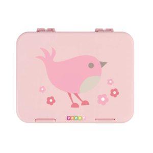 Penny Scallan Chirpy Bird Large Bento Box sweet light pink and a cute pink bird.