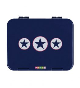 Penny Scallan Navy Star Large Bento Box unique designs with 3 large stars in the center and great colour.