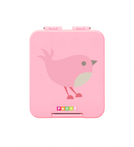 Penny Scallan Chirpy Bird Mini Bento Box sweet pink colour with a little bird print in the middle.