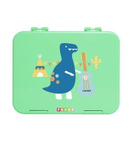 Penny Scallan Dino Rock Large Bento Box a happy dinosaur holding a musical instrument in an attractive colours.