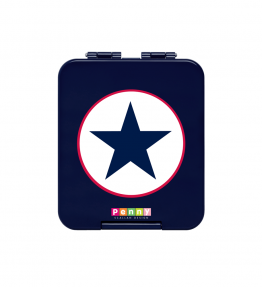 Penny Scallan Navy Star Mini Bento Box silicone insert inside lid to prevent seepage between compartments.