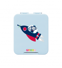 Penny Scallan Space Monkey Mini Bento Box a cute monkey inside the spaceship print with cute sky blue colour.