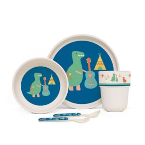 Penny Scallan Dino Rock Bamboo Meal Set with Cutlery super cute dino designs and grea colour combination.