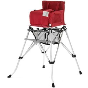 camping highchair in red which is easier for small children to set and easy to disassemble and transport.