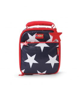 Penny Scallan Navy Star Lunchbox School Bag amazing big red star chained and zippers.