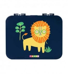 Penny Scallan Wild Thing Large Bento Box boyish color with a smart lion print.