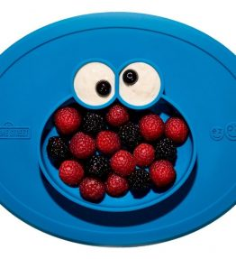 EZPZ Sesame Street Cookie Monster Mat perfect for dinners in or out and for travel.
