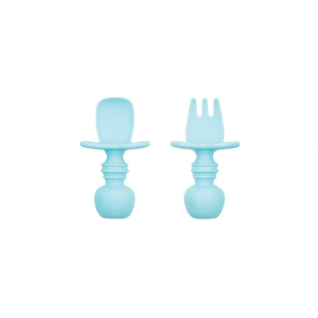 Bumkins Blue Silicone Chewtensils one of a kind soft, textured silicone which gently on gums for infants.