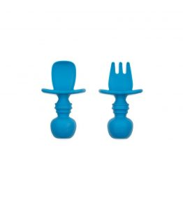 Bumkins Dark Blue Silicone Chewtensils practice the motion of self-feeding as they go from food to mouth.