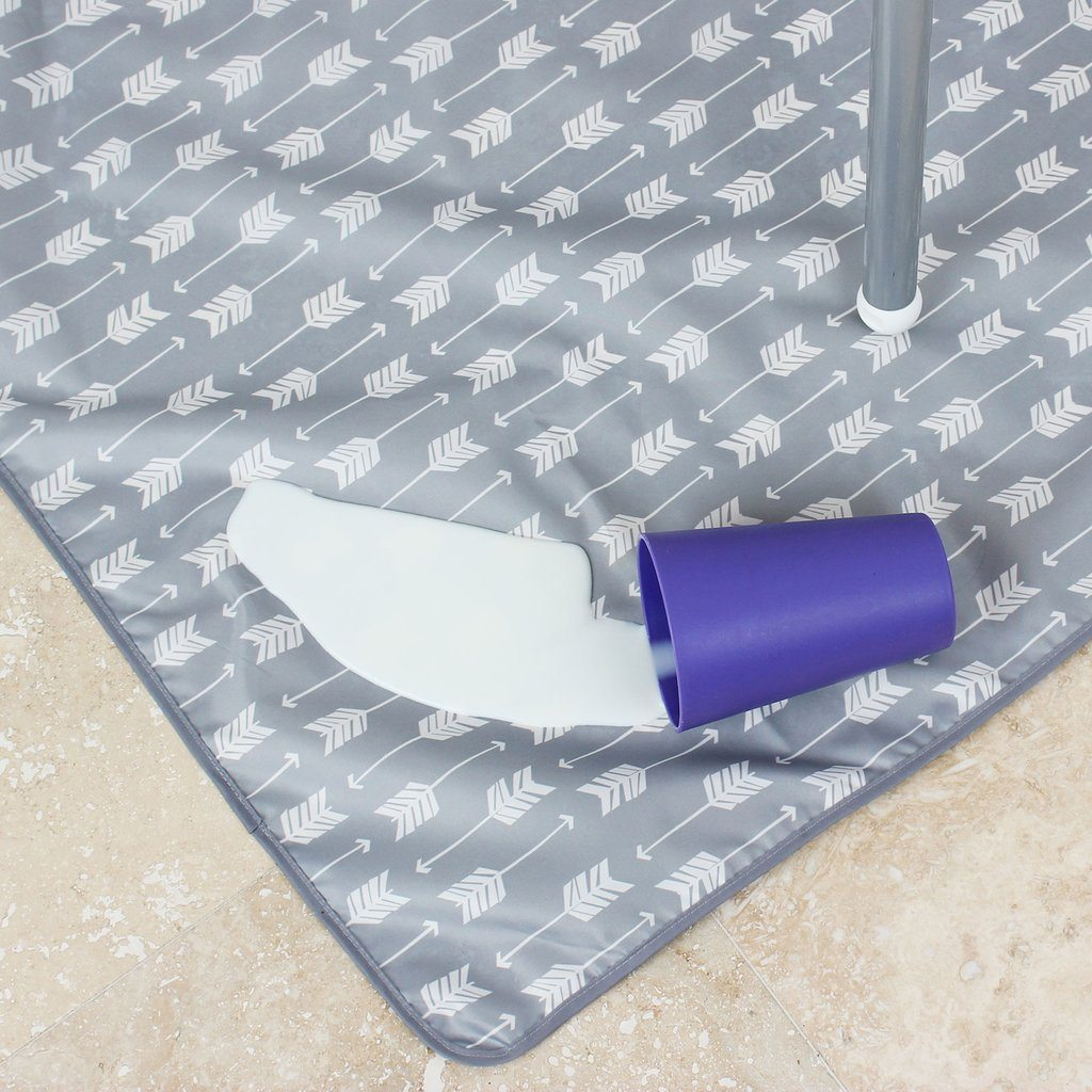 Bumkins Grey Arrow Waterproof Splat Mat is good for messy activities and lightly washable.