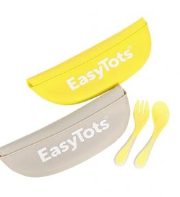 Easytots 2 Pack Silicone Baby Bibs with Baby Fork and Spoon