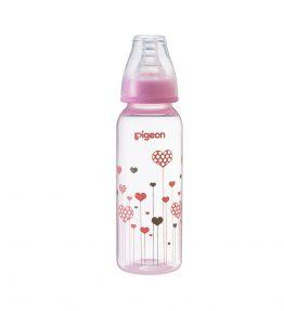 Pigeon Slim Neck Flexible™ Bottle 240ml Bottle Pink Hearts (PP)