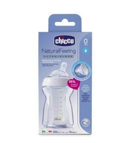 Chicco Nursing Glass Bottle: NaturalFeeling – 150ml 0m+ Teat