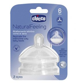 Chicco Nursing Teat: NaturalFeeling - 6m+ Food Flow 2pk
